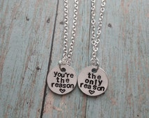 5 Seconds of Summer The Only Reason Hand Stamped Couple/Best Friends Necklace Set