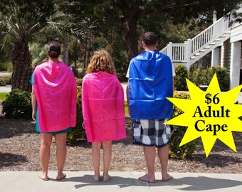 SUPER HERO CAPE for Adults - Super Hero Cape for Teens - Satin Cape for Adults or Teens - Blank Adult Cape - Economy Cape - Ships Quickly