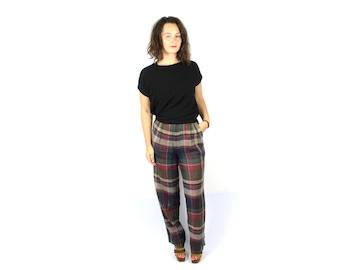 High waist pants, Wide leg pants, Linen pants, Plaid pants, Womens pants, Vintage pants, 70s pants, Linen Womens Trousers  / Medium Large