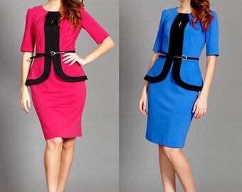 Pencil Colorblock sleeved peplum dress/ Office colorblock blue bodycon peplum dress