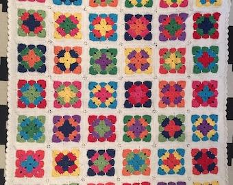 Crochet Baby Blanket, Cot or Pram / Stroller Blanket Cotton Blend