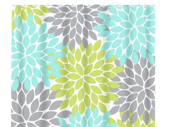 Aqua Gray Lime SHOWER CURTAIN Flower Burst Custom By TRMDesignShop