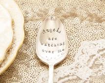 Rememberace gift, Remember Mum, Angel Keepsake, Angel gift, Angels watch over me - Stamped Vintage Teaspoon