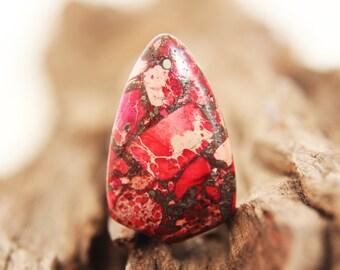 Gemstone Pendant - Sea Sediment Jasper & Pyrite - red / pink / magenta -  33mm x 20mm