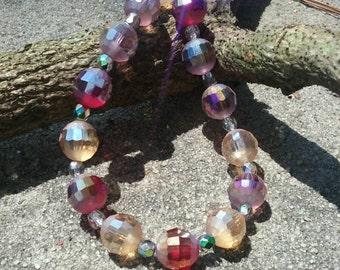 Women's Large Plum and Citrus Beaded Bracelet