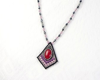 Red tribal necklace, art deco pendant necklace, black square necklace red, black beaded necklace, 390