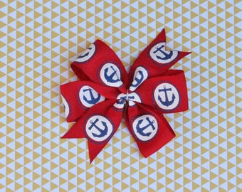 Nautical Hair Bow - Nautical Pinwheel Hair Bow - Anchor Hair Bow- Red and Blue Pinwheel Hair Bow - Red and Blue Hair Bow