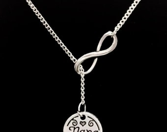 Infinity Nana, Granny, Grandmother, Grandma Forever Gift Y Lariat Necklace
