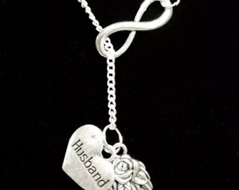 Infinity Guardian Angel Wing Love My Husband In Heaven Memory Y Lariat Necklace