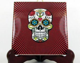 Sugar Skull Calavera Mexicana wall hanging ceramic tile Day of the Dead Dia de los Muertos red psychedelic background