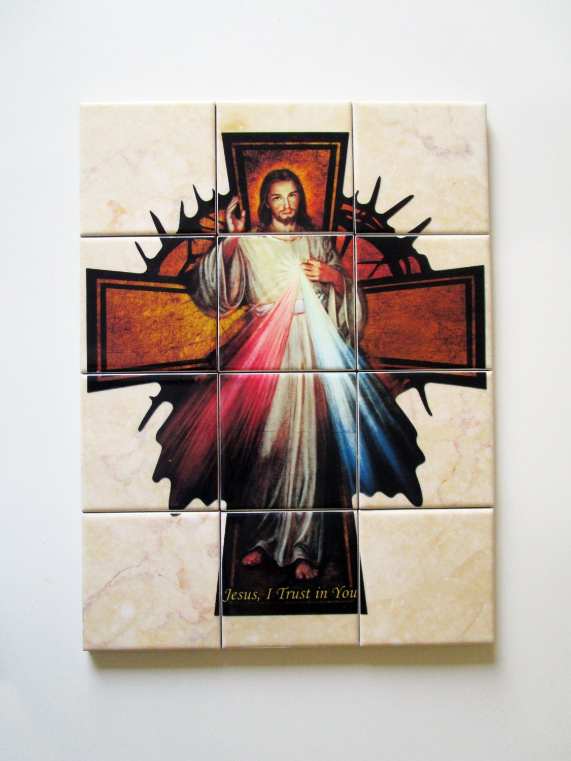 Wall Decor Jesus : Jesus wall art of divine mercy mosaic by terrytiles