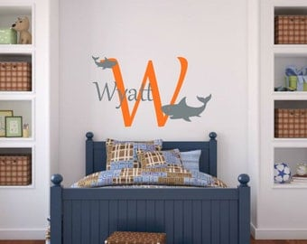Shark Wall Decal Shark Vinyl Decal Boy Bedroom Decal Ocean Wall Decal Sea Wall Decal Shark Decal Shark Name Decal Boy Wall Decal Boy Nursery