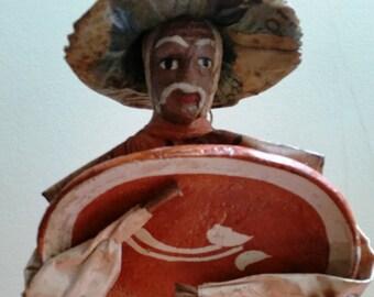 Mexican Papier–mâché Folk Art Figures Pottery Worker Man Tall 11in