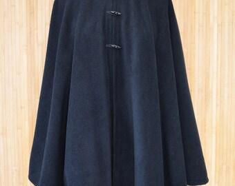 Womens' Black Handmade Hooded Cape, Hooded Cloak, Plus Size Cape Coat, Hooded Poncho