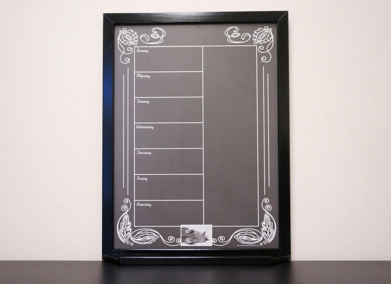 Black Artisan Chalkboard Framed Dry Erase Calendar