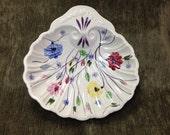 Blue Ridge Pottery Shell Dish, Hand Painted Pottery Dish,  Floral Shell Dish, Shell Bon Bon Dish, Chintz Pattern, Southern Potteries Shell
