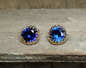 Blue Sapphire Earrings(Lab Created) Yellow Gold or Sterling Silver- 8mm