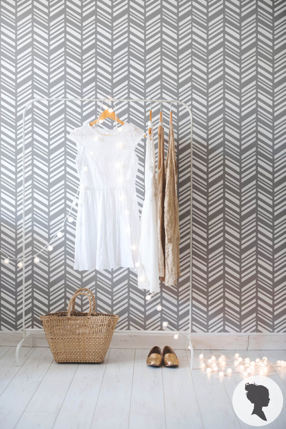 Removable Wallpaper herringbone removable wallpaper / traditional or self adhesive