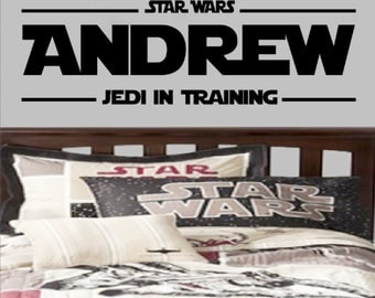 Vinyl Wall Decal Personalized Star Wars Jedi in Training Name - Art Parody, Themed Design Decals