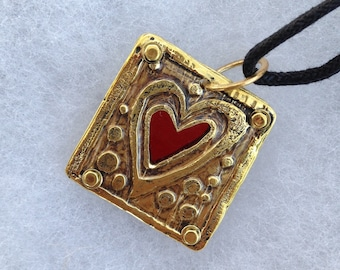 Etched Brass Heart Pendant