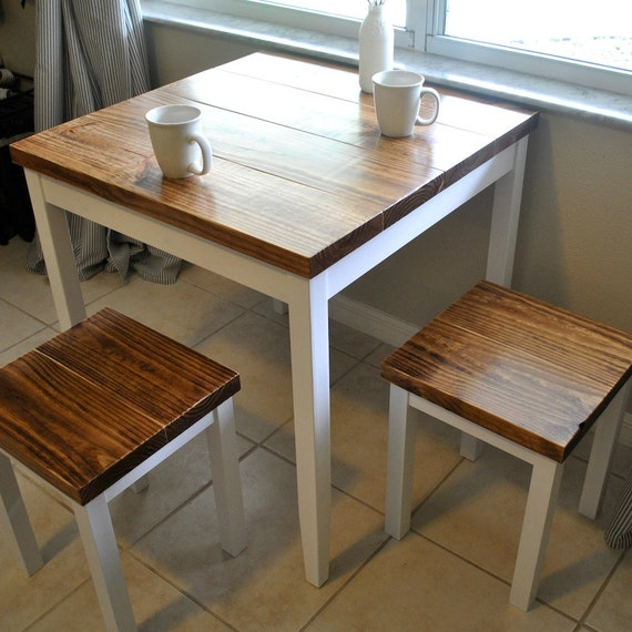 Farmhouse breakfast table or small dining table by for Breakfast table with stools
