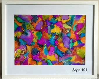 """Multi-coloured Abstract Ink Artwork - Ready to hang in 20"""" x 16"""" Frame"""