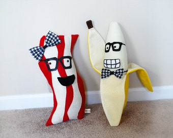 Plush Accessory Pack 1 - Bacon Plush Toy Accessories - Banana Plush Toy Accessories - Glasses, Bow Tie/Hair Bow, & Cheesy Smile