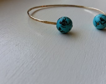 Hammered Turquoise Cuff, Turquoise Bracelet, Turquoise Cuff Bracelet, Turquoise Jewelry, Turquoise Jewellery, White Turquoise Cuff