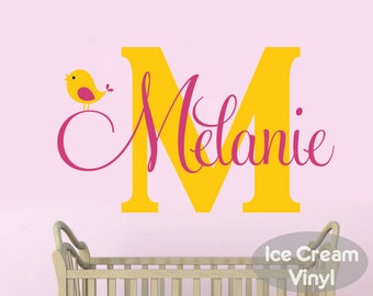 Name Wall Decal with Bird for Girls Boys Nursery Bedroom Monogram Children Decor
