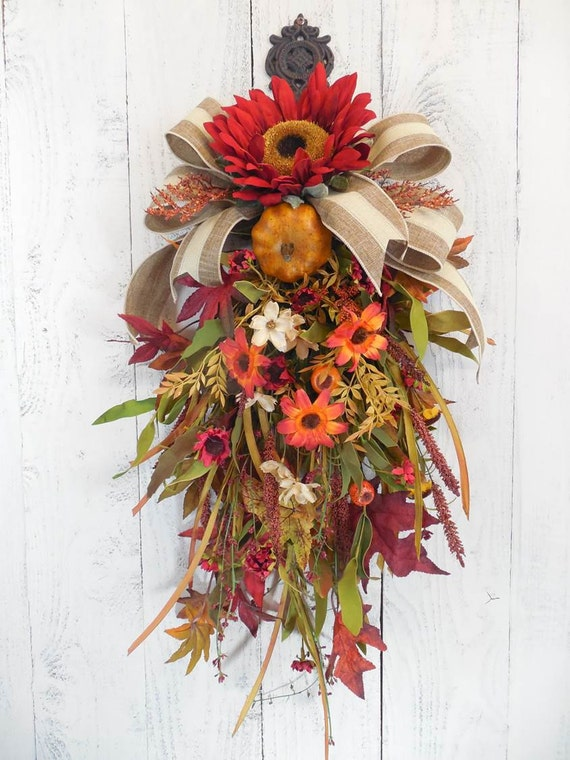 Fall floral wreath, Wreaths for Fall, Door swag, Sunflower wreath, Fall door decor, Pumpkin wreaths, Harvest decor, Autumn, Red and orange