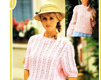 Loose Knit Top Knitting Pattern Digital Download Short Sleeve Spring Fashion Instant Download Gift for Her Summer Fashion Sweater Pattern