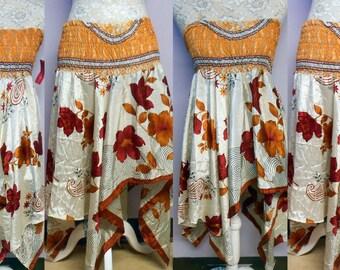 Handmade  Silk Skirt or Dress Diamond Cut Gypsy Hippie Chic BOHO NEW