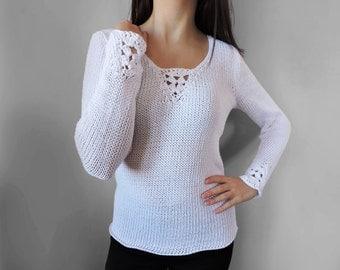 Elegant knit blouse Crochet White blouse White long sleeve blouse Cotton knit top Light summer wear Women blouse Cotton top