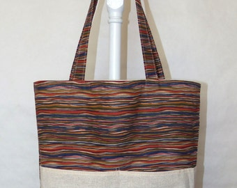Reversable Four Pocket Market Tote Muslin and Striped Grocery Bag