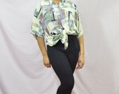Purple/Yellow Crazy Print Shirt . Vintage Shirt . One Size . 1980s . WAREHOUSE SALE