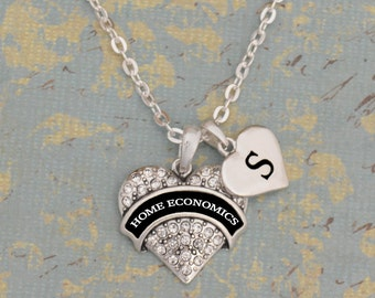 Custom Initial Home Economics Heart Necklace
