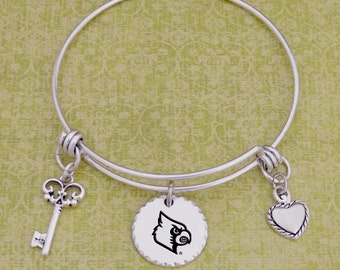 Louisville Cardinals Disk Memory Wire Bracelet
