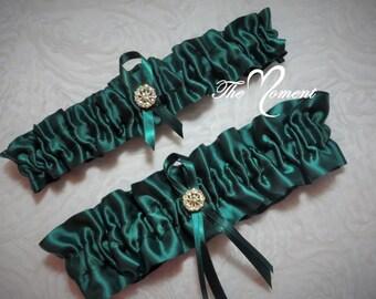 Hunter Green Garter Set, Green Garter, Keepsake and Toss-away Garter Set, Satin Garter, Prom Garter, Bridal Garter, Wedding Garter