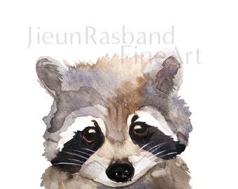 Baby Raccoon- instant print,animal printable art, watercolor by Jieun Rasband, wall decor, Nursery wall art