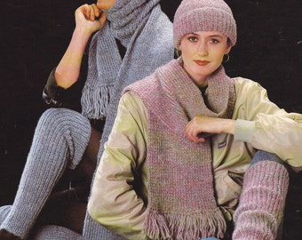 PDF leg warmers hat cowl tube scarf vintage knitting pattern INSTANT download pattern only pdf 1980s