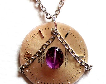 CHAINED AMETHYST Steampunk Jewelry Necklace Pendant Clockwork Gears with Ametyst