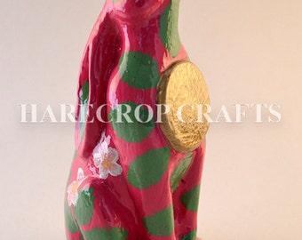 Unique Handmade Moon Gazing Hare - Flora