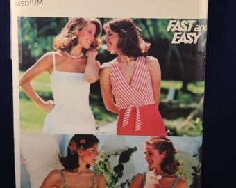 Vintage Sewing Pattern Butterick 4883 for a Woman's Set of Summer Tops in Size Medium
