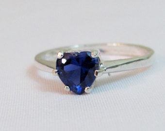 Blue Sapphire Heart Ring, Sapphire Promise Ring, 925 Sterling Silver, 6mm Lab Sapphire Gemstone, September Birthstone Jewelry, Gifts for Her