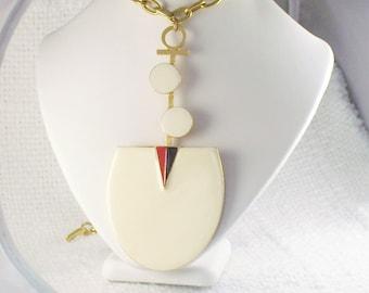 Vintage BIG Mod 60's Geometric  Necklace Mode Art 60's Big Drop Necklace Dramatic Mod BIG Necklace Carnaby Street Necklace