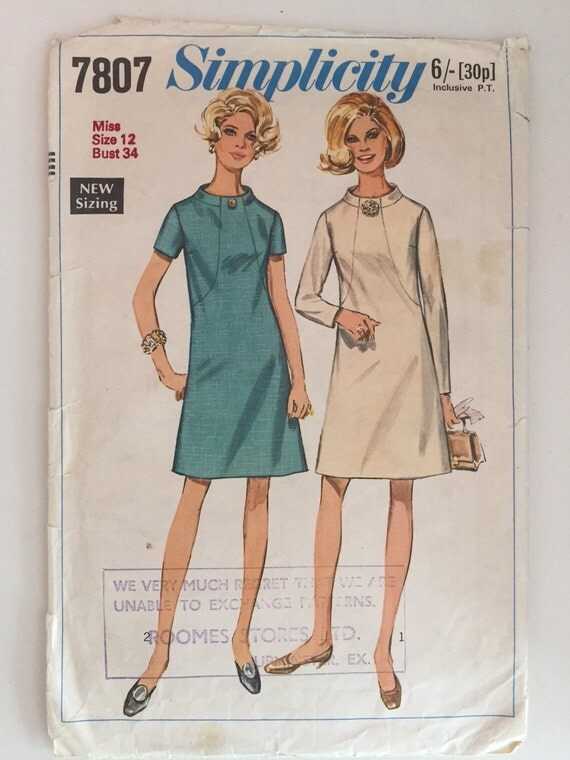 Simplicity 7807 1960s Sewing Pattern / Shift Dress / Size 12 - photo#23