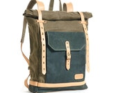 Olive green waxed canvas backpack. Canvas and Leather backpack. Waxed canvas bag.  Waxed canvas rucksack. Hipster backpack.