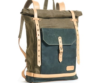 Olive green waxed canvas school backpack.  Waxed canvas bag. Canvas leather backpack. Waxed canvas rucksack. Hipster backpack.