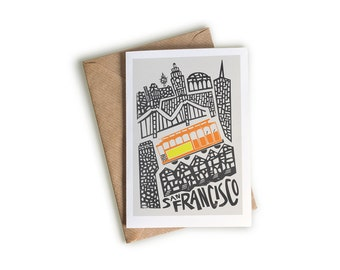 San Francisco City Card, A6 Size, Illustrated Note Card, Cityscape, Trams, Public Transport, US Cities, Mid Century Style, Blank Greeting