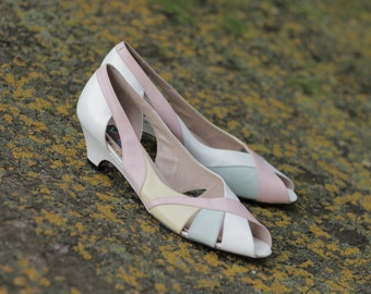 Pastel Coloured Kitten Heels Size 8 Narrow